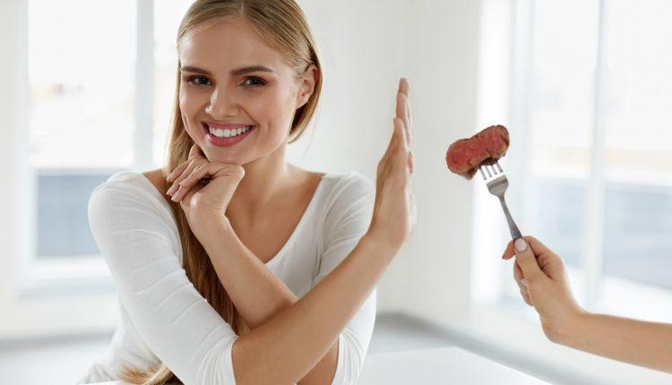 Vegetarian Nutrition. Beautiful Woman Refuses To Eat Meat. Diet