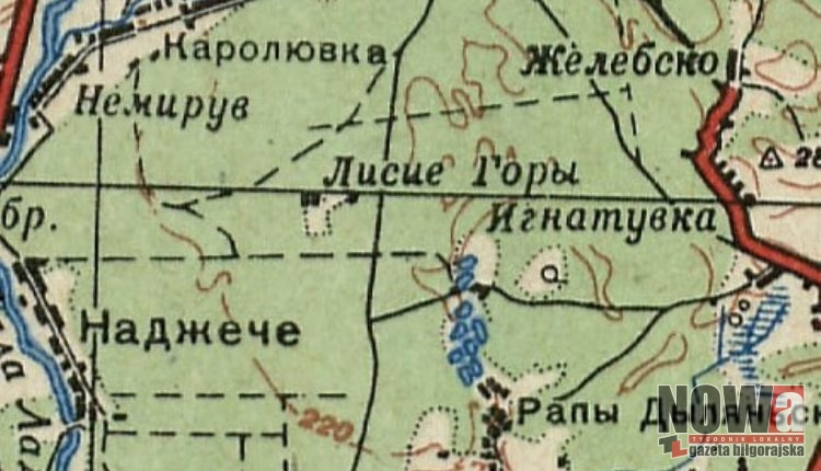 Lisie Góry na mapie sowieckiej z lat 1942-1943