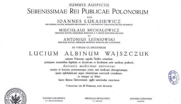 3. Dyplom lekarski ppor. rez. Lucjusza Wajszczuka z Siedlec. Tak samo wyglądał dyplom S. A. Malewicza
