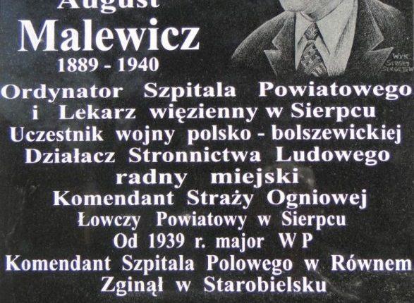 Tablica poświęcona dr Stanisławowi Malewiczowi – Sierpc 2010